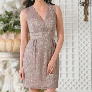 Taupe Tiffany chiffon/lace mini